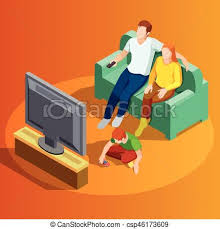 family watching tv clipart. family watching tv home isometric image - csp46173609 tv clipart