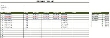 Homework To Do List Template Exceltemplate Net