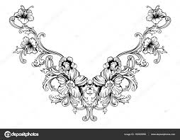 Floral Embroidery Designs Vector Floral Neck Embroidery Design In Baroque Style Stock