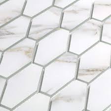 o 1 5 in x 2 875 in glass elongated hexagon mosaic in calacatta gold matte
