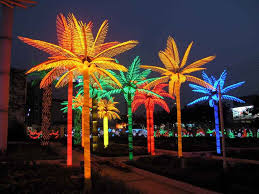 image of artificial outdoor lighted palm tree