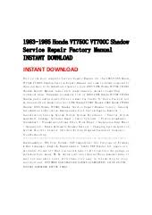 1983 1985 honda vt750 c vt700c shadow service repair factory manual i