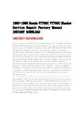 honda vt c vtc shadow service repair factory manual i