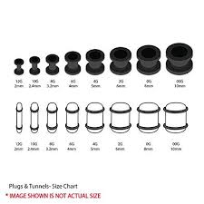 ear gauging chart actual size bodyj4you plugs kit gauges acrylic ear stretching single double