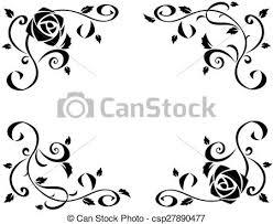 美しい シルエット バラ フレーム 黒 花