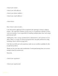 Cover Letter Example For Job Interesting Covering Letter For Receptionist Receptionist Job Description Resume