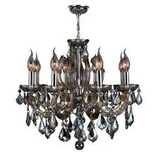 catherine collection 6 light polished chrome and golden teak crystal chandelier