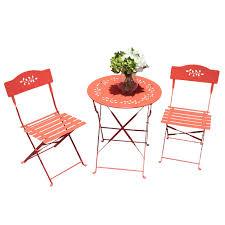 Amazon com oc orange casual 3 piece folding bistro set steel patio dining table and chair sets garden backyard outdoor furniture garden outdoor