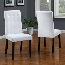 modus urban seating tufted parsons dining chair in white leatherette pair