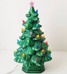 LARGE VINTAGE CERAMIC CHRISTMAS TREE With STAND U0026 BULBS Holland Holland Mold Christmas Tree