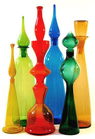 Decorative Colored Glass Bottles MIDCENTURIA Art Design and Decor from the MidCentury and 5