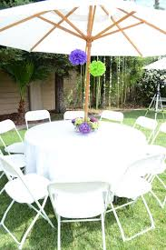 white polyester round outdoor tablecloths with umbrella hole and zipper for beautiful outdoor dining table secor