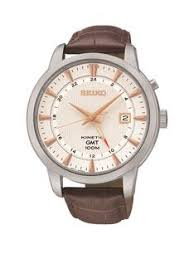 seiko mens watches gifts jewellery littlewoods com seiko seiko kinetic gmt white dial rose gold marker stainless steel case tan leather strap mens watch