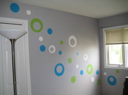 When I was planning Parker's nursery, I knew I wanted to paint a circle  design on the walls. I found several images on Pinterest that helped me  design the ...