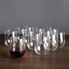 libbey stemless wine glasses everyday glass set of clear vina 12 pc