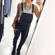 jeans jumpsuit on point clothing dungarees overalls leather black leather statement necklace necklace jewels halter top