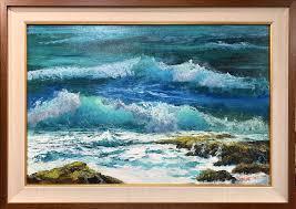by the ss of makapu u 30 x20 original palette knife oil painting