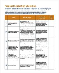 Evaluation Proposal Template 8 Project Evaluation Checklist ...