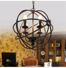 modern industrial chandelier 6 light hanging fixture round ball cage pendant light