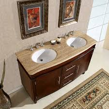 55 inch double sink bathroom vanity:  inch double sink vanity with travertine top and undermount white ceramic sinks