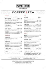 Pavement coffee house boston, fenway/kenmore; Cafe Menu Pavement Coffeehouse