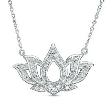 t w diamond open lotus flower necklace in sterling silver 17