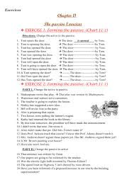 Active Voice Passive Voice Chart Exercise 2 Forming The Passive Chart 11 1