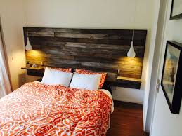 DIY Homemade timber headboard w floating bedsides & pendant lights. Made  with recycled timber fence