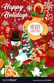 Holidays Snowman Happy Holidays Snowman Greeting Card Royalty Free Vector