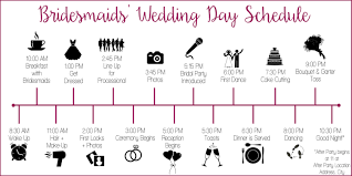 Wedding Timeline Wedding Party Schedule Timeline With Icons Customized And 6
