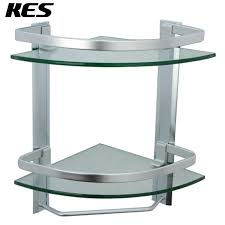 kes bathroom 2 tier corner glass shelf with wide rail and towel bar hanger aluminum frame and 8 mm extra thick tempered glass shower shelving caddy