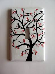 spring tree painting with red flowers beautify 30 retro light switch designs themselves