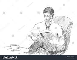 pencil drawing of a young man reading a book
