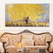 canvas oil painting hand painted palette knife 3d texture flower and tree wall pictures