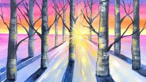 sunlight through trees acrylic painting tutorial beginners on canvas you