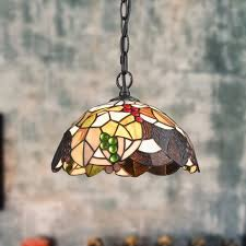 tiffany style colored glass pendant light