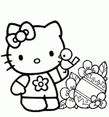 A simple coloring page with only two colors needed. Free Printable Hello Kitty Coloring Pages For Kids Coloring Home