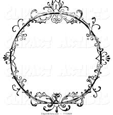 vintage black frame. Vintage Black And White Ornate Floral Round Frame V