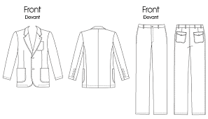 Mens Pants Pattern Custom V48 Men's Patch Pocket Blazer And FlatFront Pants Sewing