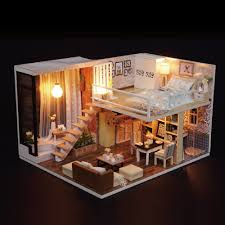 miniature wait for time villa dollhouse furniture kits diy wooden room dolls house led lights for toy romantic artwork gift in figurines miniatures from