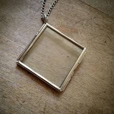 two sided square diamond geometric silver glass frame necklace pendant chain