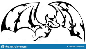 изолированная художественная татуировка летучей мыши в черно белом