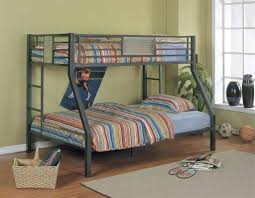 Low Cost Metal Bunk Bed For Kids With Blue Bedding And Colorful Stripes  Blanket