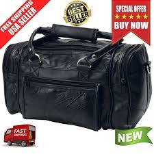 black leather mens toiletry bag shaving kit overnight travel duffel new 20 49