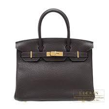 Hermes Brown Color Chart Hermes Birkin Bag 30 Ebene Clemence Leather Gold Hardware