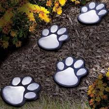 4 Solar Cat Animal Paw Print Lights Garden Lantern Led Path Lamp