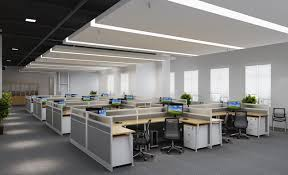 corporate office interior. Delighful Corporate Futuristic Corporate Interior Design With Neat Partition Workspace And  Ceiling Lighting Idea With Office F