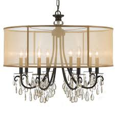 crystorama hampton 8 light drum shade bronze chandelier