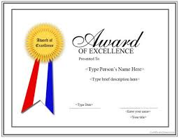 Achievement Awards Certificates Templates Special Certificate Award For Excellence With Ribbon