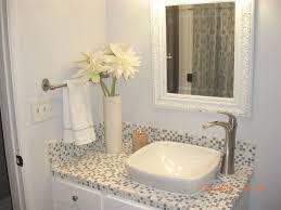 transitional full bathroom with high ceiling european cabinets square semi recessed vessel sink